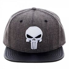 MARVEL COMICS HEATHER GREY THE PUNISHER LOGO SNAPBACK HAT CAP BLACK PU FLAT BILL
