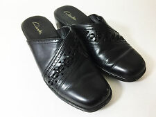 Clarks Clog Mules Shoes Slip On Slides Black Leather Womens Size 8 M