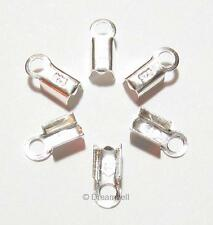 40 Sterling Silver Leather String Clip Cord End Crimp Bead Cap