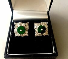 18K White Gold Jadeite Jade and Diamond Earrings - Purchased at Sothebys HK '96