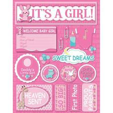 REMINISCE IT'S A GIRL NEW BABY PREGNANCY DIMENSIONAL 3D SCRAPBOOK STICKERS
