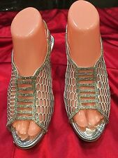 Size 7 Ladies Indian Bollywood Fancy Bridal Shoes Heels  Sandals Silver S17
