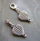 YOU PICK CHARM Clip On Silver Hot Air Balloon ( or attach to Zip )