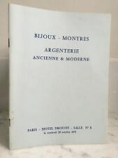 Catalogue de vente Bijoux Montres Argenterie  Salle n°8 20 Octobre 1972