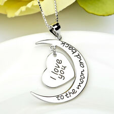 """I Love You to the Moon and Back"" 925 Sterling Silver Crescent Message Necklace"