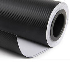 "12""x50"" 3D Black Carbon Fiber Vinyl Car Wrap Sheet Roll Film Sticker New"