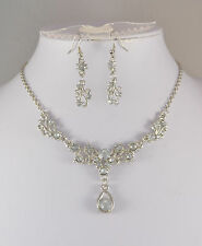 SILVER TONE CLEAR CRYSTAL SMALL TEARDROP NECKLACE SET
