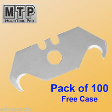 Pack 100 Pc Utility Hook Blades w/ Free Case Carpet Roofing Knife Standard Size