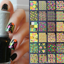 24pcs/lot 3D Nail Stickers Colorful Leaf Star Heart Style Manicure Decoration