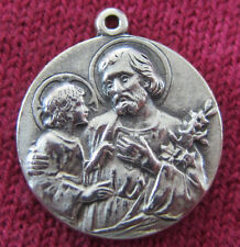"Vintage Catholic Religious Medal - SILVER FILLED - Saint Joseph "" PRAY FOR US """