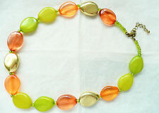 ACCESSORIZE NECKLACE - GOLD, LIME GREEN & ORANGE FLAT OVAL BEADS – BRAND NEW