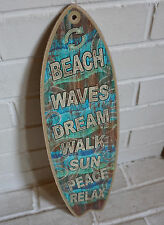 BEACH WAVES DREAM SUN PEACE RELAX Rustic Surfboard Sign Surfer Home Decor NEW