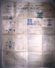 ANCIENNE PUBLICITE TARIF PIECES 1930 / APPAREILS A PETROLE FLAMME BLEUE - PARIS