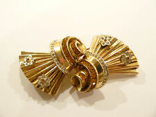 Gorgeous 1946 Coro Craft Sterling & Citrine Rhinestone Duette Brooch / Clips