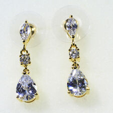 18K Yellow Gold Filled AAA Clear CZ Lady Wedding Party Stud Dangle Earring E4396