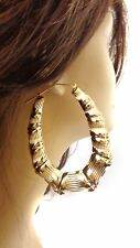 LARGE HOOP EARRINGS BAMBOO GOLD OR SILVER TONE 3.25 INCH L 2.5 W OVAL HOOPS