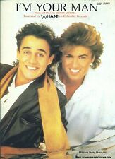 """GEORGE MICHAEL & WHAM! """"I'M YOUR MAN"""" EASY PIANO/VOCAL SHEET MUSIC 1986 RARE!!!"""