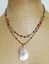 """Signed NY New York Brown Mother of Pearl Glass Beads Pendant 18"""" Necklace"""