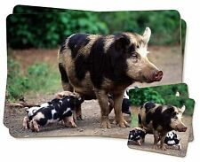 Mother and Piglets Twin 2x Placemats+2x Coasters Set in Gift Box, AP-4PC