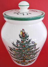 UNUSED SPODE ENGLAND CHRISTMAS TREE AIRTIGHT LIDDED JAR POT MISTLETOE HOLLY