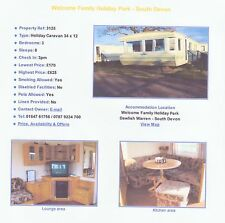 Caravan,Villa,Chalet,Sleeps 6/8 4Hire@ Welcome Family holiday park Dawlish