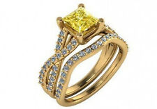 1.65 ct GIA fancy intense yellow VS2 princess cut diamond engagement ring set