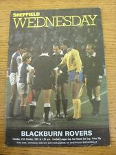 27/10/1981 Sheffield Wednesday v Blackburn Rovers [Football League Cup] (Folded)