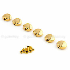 NEW - Small Oval Shape Buttons Set of 6 for Gotoh Tuners Keys w/ Screws - GOLD