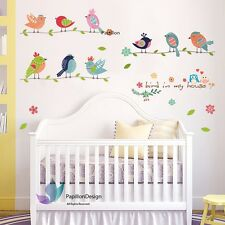 Colourful Birds / Tree / Flower / Owl/ Nursery Baby Removable Wall Sticker Decal