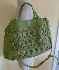 Aleanto Collezioni X-Large Italian Leather Lime Green Hand / Shoulder Bag  FUN!