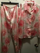 CRUZ Pink Floral Satin 2pc Top Pants Pajamas Set SZ XL. (J)