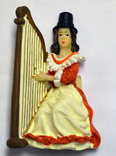 Seated WELSH LADY with HARP design FRIDGE MAGNET,  Wales / Cymru