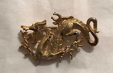 Vintage Gold Tone Chinese Style Dragon Pin Brooch  Signed   J. S.