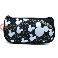 Disney Mickey Mouse Zippered Pencil Case Cosmetic Half Moon Pouch Bag- Silver