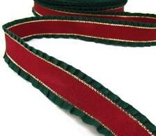 "1 Yd RARE Christmas Darker Red Green Gold Double Ruffle Grosgrain Ribbon 7/8""W"