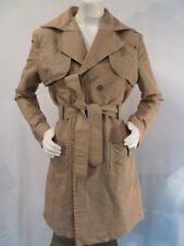 Diesel Womens Designer Khaki Fashion Belted Rain Trench Coat Trenchcoat L Large