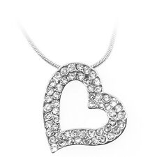"Beautiful Silver Color Heart Shape Pendant with White Crystals and 16"" Chain"