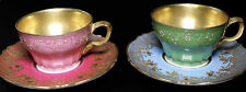 Haviland Limoges China Gold Gilt Hand Painted Set of Two Mismatched Cups Saucers