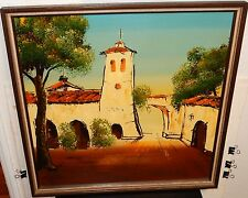 H.LEE CALIFORNIA MISSION LARGE ORIGINAL OIL ON BOARD PAINTING