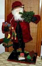 """Older House of Hatten 20+"""" Red Velvet Santa Figure with Handmade Jointed Toys"""