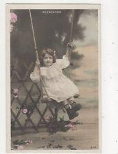 En Avant Girl On Swing Children France Vintage RP Postcard 880a