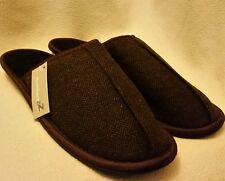 MEN'S MULE SLIPPERS HERRINGBONE BROWN  XL UK 11/12 EU 45/46 - GREAT GIFT