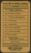1958 LIBBEY-OWENS-FORD GM PLATE GLASS NCAA COLLEGE FOOTBALL TV SCHEDULE CARD