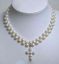 Charming 2 Rows White Akoya Cultured Pearl Cross Pendant Necklace 18""