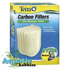 Tetra Carbon Filters Medium 4 PK Fits Whisper EX20 Cartridge Med Filter Aquarium