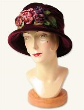 Victorian Trading Co Merlot Red Silk Velvet Packable Hat with Flowers Free Ship