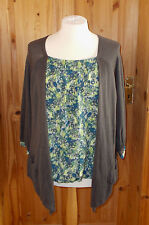BETTY JACKSON BLACK brown lime green blue 3/4 sleeve cardigan tunic top 18 46