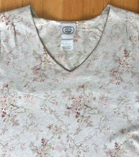 Laura Ashley, Oatmeal Jersey Cherry Blossom Floral Dress, Size US 8, EUC