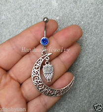 2 pcs Moon Owl Belly Button Jewelry hollow moon Belly Ring  Moon Navel jewelry