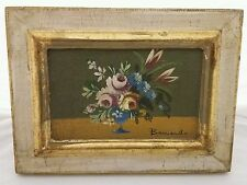 Mini Vase of Flowers Signed Oil Painting Canvas Framed Vintage